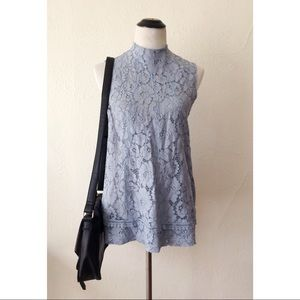 ANTHRO baby blue floral lace sleeveless top NWT